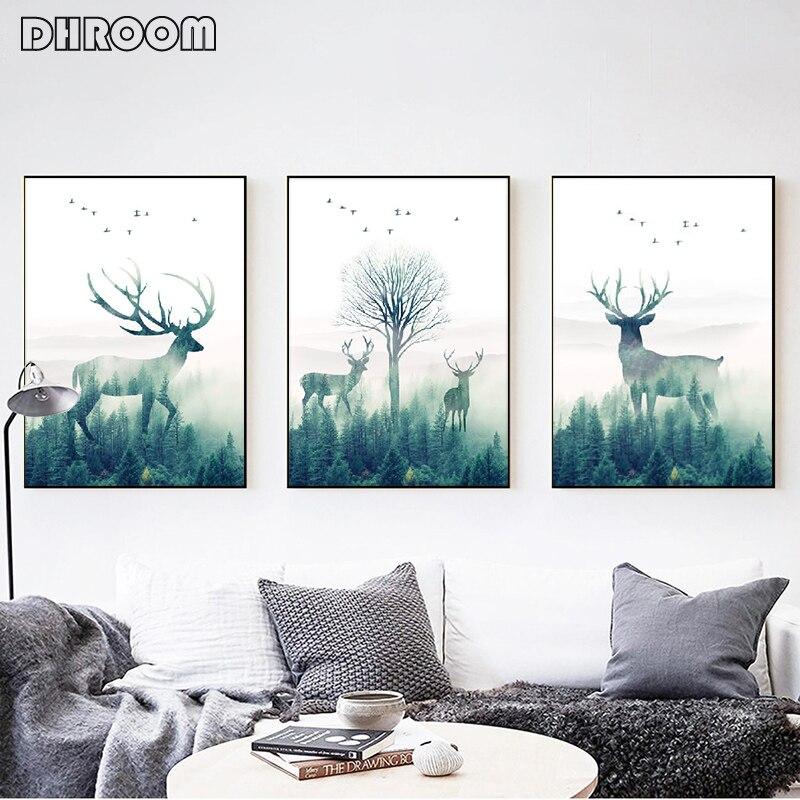 Bos Landschap Wall Art Canvas Poster en Print Vliegende Vogel Herten Canvas Schilderij Nordic Stijl Foto voor Woonkamer Decor