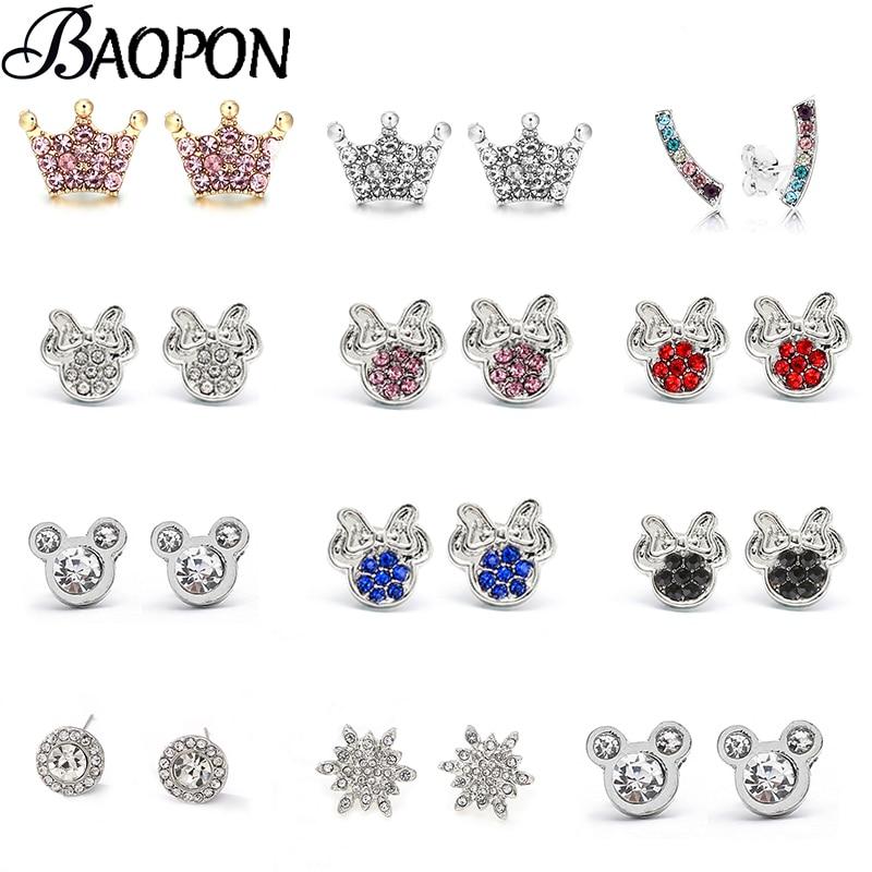 BAOPON Cute Mouse Earring Tiny Mickey Earrings for Women Kids Fine Earring Animal Ear Studs Pendientes Cartoon Party Jewelry