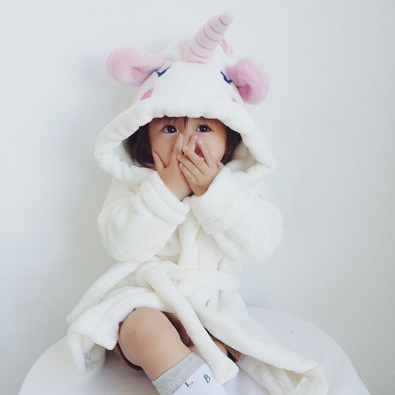 Baby Boys Girls Pajamas Cartoon Unicorn Flannel Robe Autumn Winter Sleepwear Kids Bathrobes Children Pajamas Pyjama Kigurumi