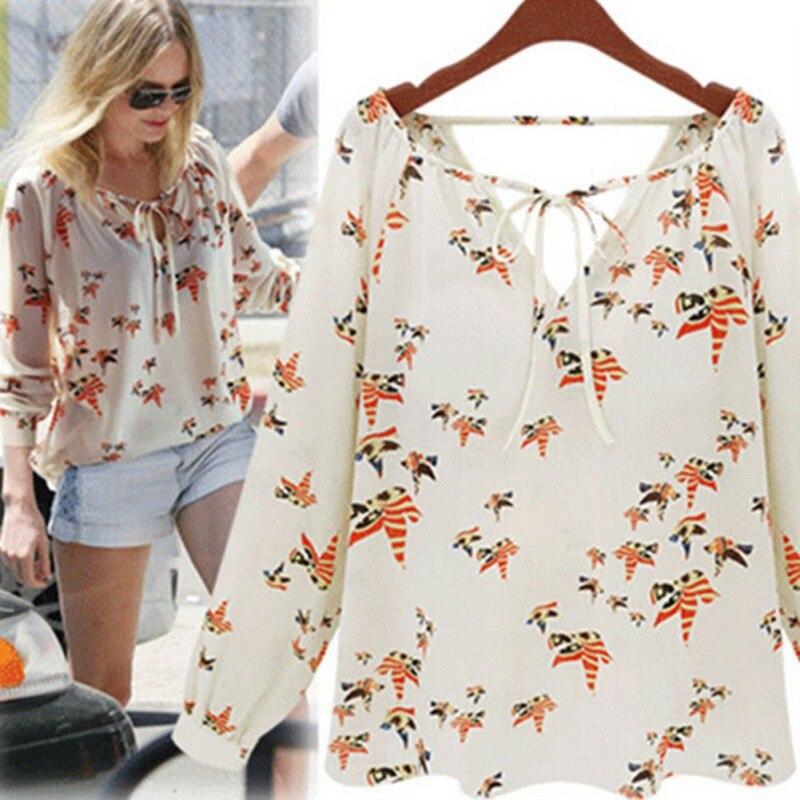 2017 Blusa de chifón a la moda para mujer, Camiseta holgada informal de manga larga con estampado de Paloma, Blusa femenina