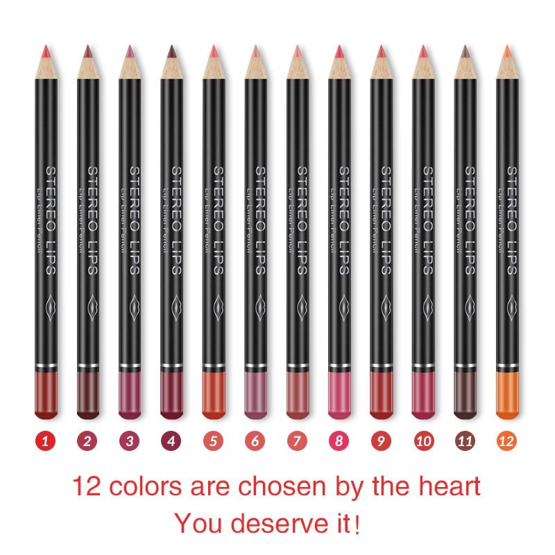 12 cores profissional lipliner lápis sexy fosco vara à prova dwaterproof água duradoura lábio forro lápis conjunto maquiagem cosméticos alta qualitytslm2