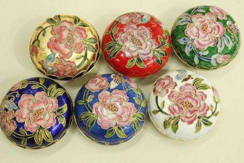 Venta al por mayor, 6 uds., chino, hecho a mano, impresionante cloisonné, polvo de esmalte, cajas, caja de joyería