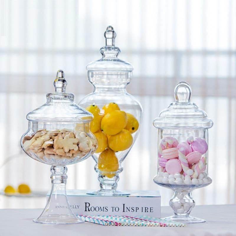 خزان تخزين زجاجي على الطراز الأوروبي ، جرة حلوى زجاجية ، ديكورات منزلية للزفاف ، مستلزمات الحفلات