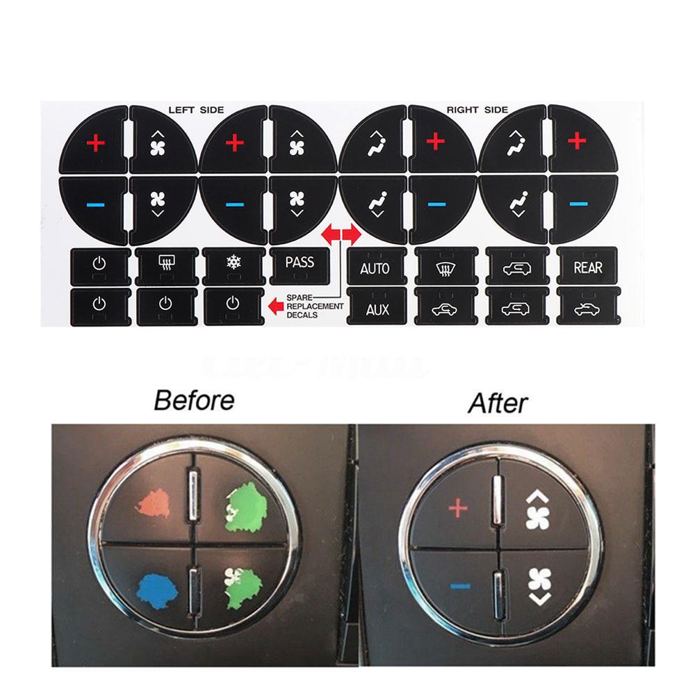 Nuevo Control de clima piezas de repuesto interior Botón de tablero de CA pegatina para tahoo aluancha periférica Silverado Yukon