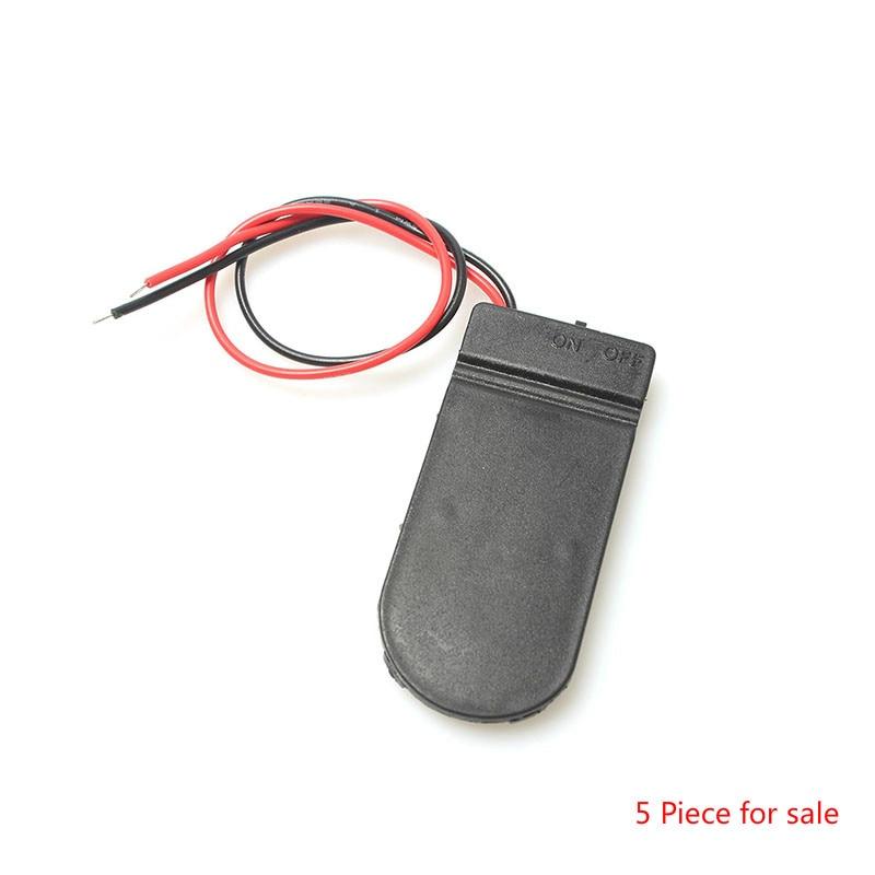 5 шт./лот, удерживающий 2x CR2032, держатель для монет, батарейный отсек, черный ящик, 6 в, провод, ВКЛ./ВЫКЛ. Переключатель, оптовая продажа