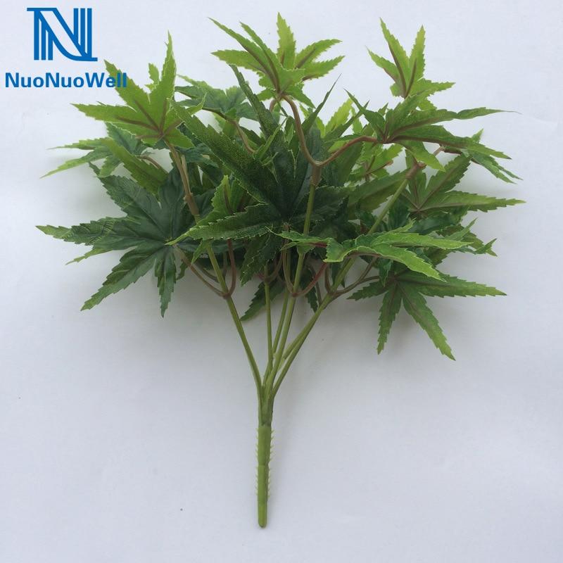 NuoNuoWell hoja de arce Artificial Spray decorativo verde follaje ramo de hojas mesa de comedor mostrar flores