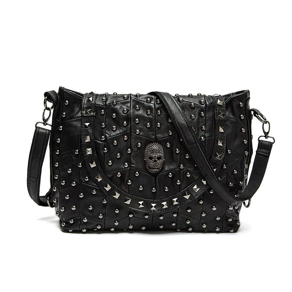 Модные натуральные кожаные классные сумки с заклепками в европейском и американском стиле, женские сумки-мессенджер в стиле панк, повседне...