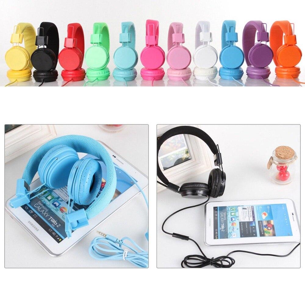 Auriculares plegables con micrófono integrado para niños y niños, auriculares con cordón cableado de cuero artificial estéreo MP3, auriculares para ipad y tablet