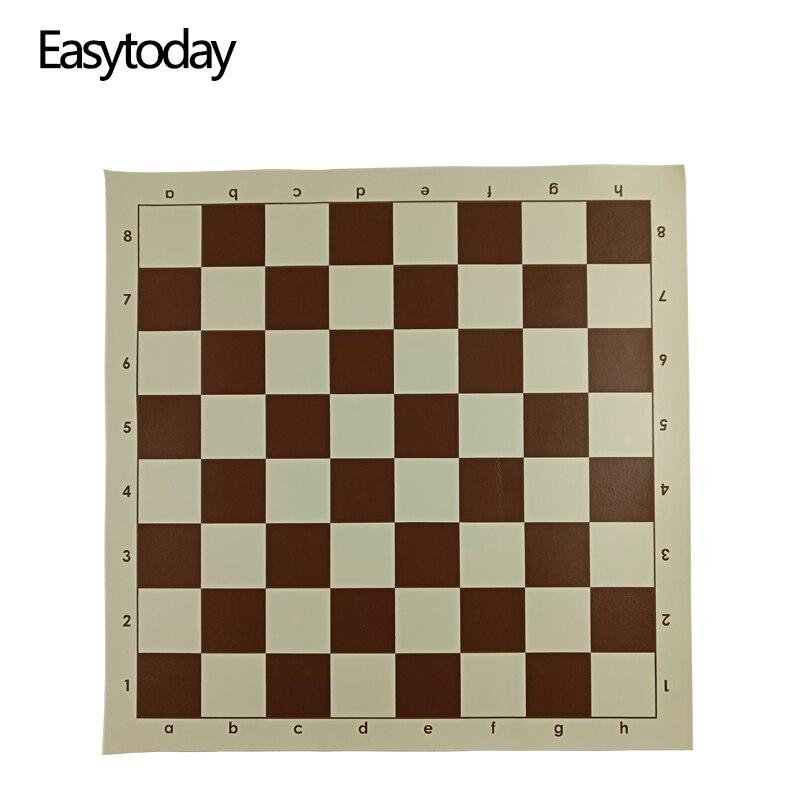 Easytoday, juegos de mesa de Ajedrez de cuero sintético, accesorios de Ajedrez de un lado, tablero de ajedrez estándar internacional