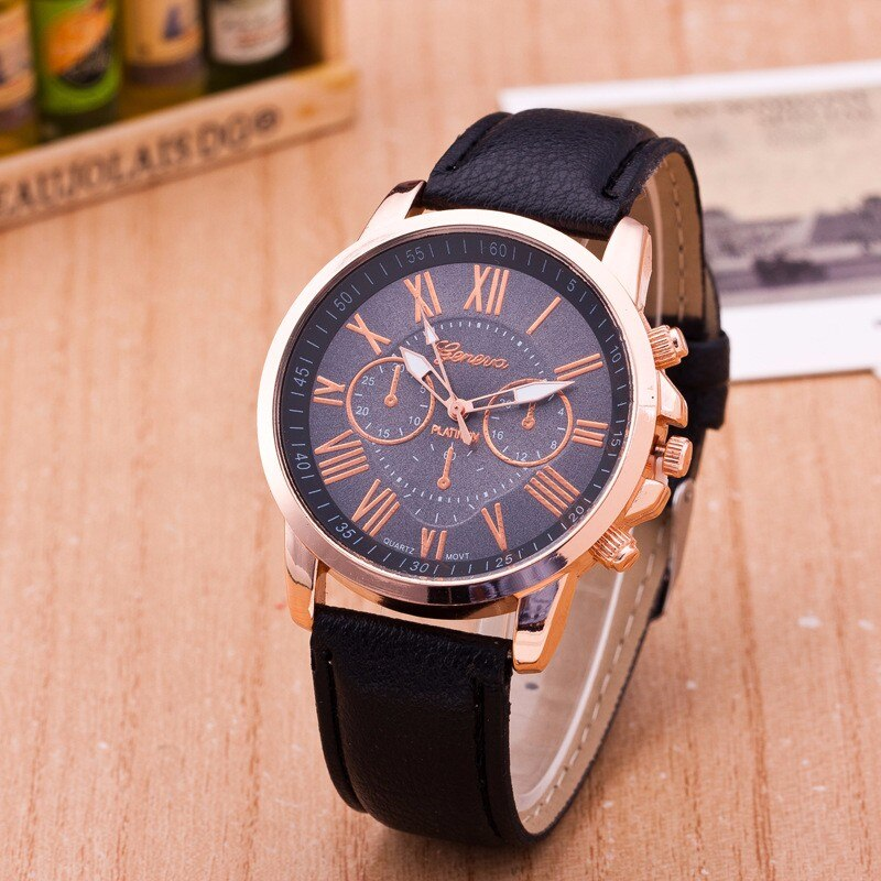 Reloj Mujer New Luxury Fashion Faux Leather Women Blue Ray Glass Quartz Analog Watches Casual Cool W