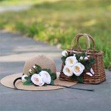 Straw Bags Beautiful Flowers handbags Women Woven Rattan Bag Travel Summer Holiday Wedding Vacation Honeymoon period Bride Totes