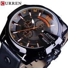 CURREN Orange cadran de mode de luxe marque Design noir en cuir ceinture calendrier hommes Quartz militaire Sport montres Top marque de luxe
