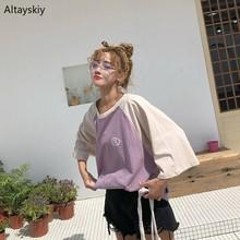 T-shirts Women Harajuku Summer New Loose Leisure Fashion Students Womens Clothing Streetwear Simple All-match Daily Kawaii Chic
