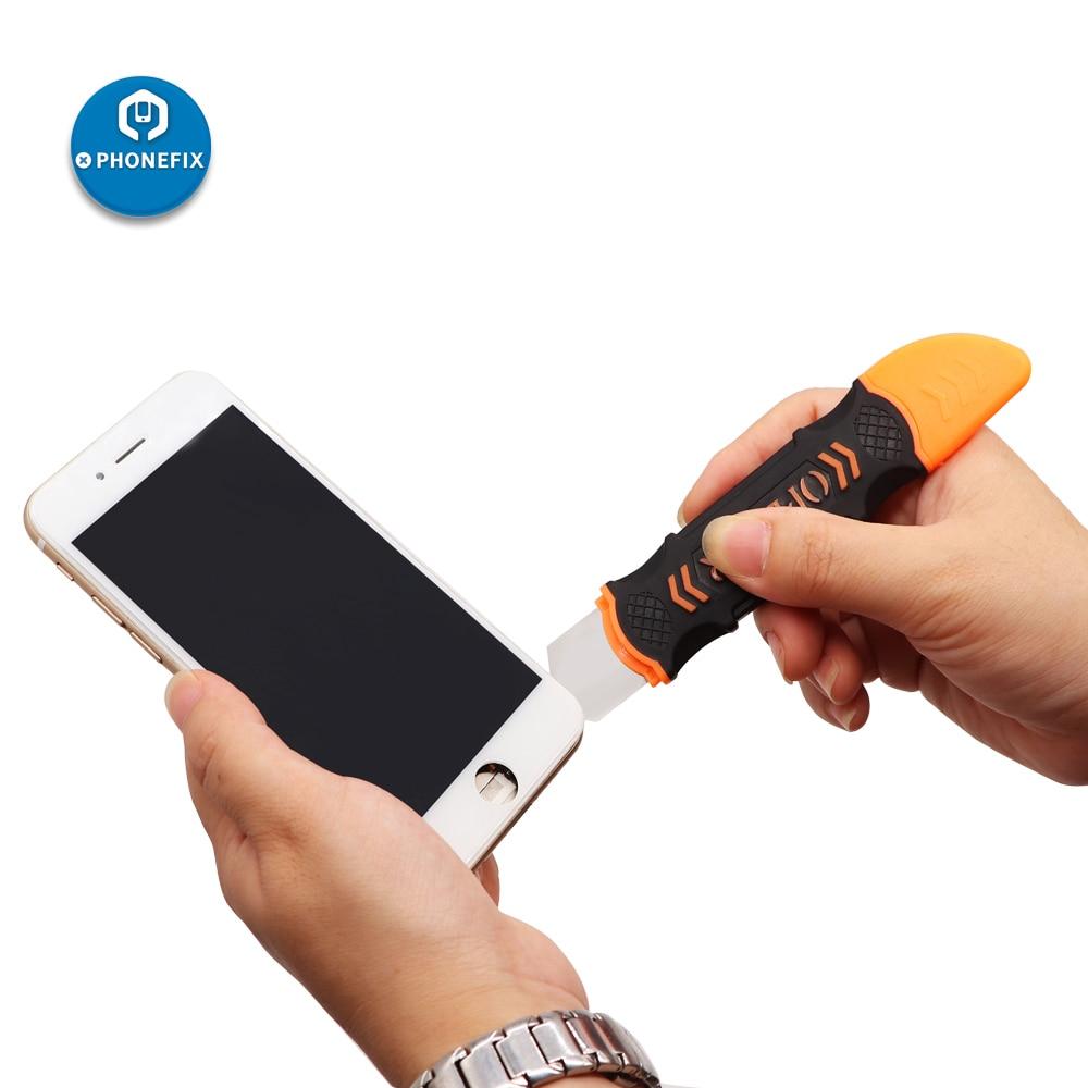 JM-OP12 lado duplo metal lâmina de abertura ferramentas dispositivo móvel reparo do telefone desmontagem pry para samsung iphone ipad portátil tablet pc