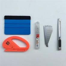 4 pçs/lote filme envoltório de vinil carro ferramenta feltro rodo raspador snitty cortador faca estilo do carro adesivo carro envoltório ferramentas kit