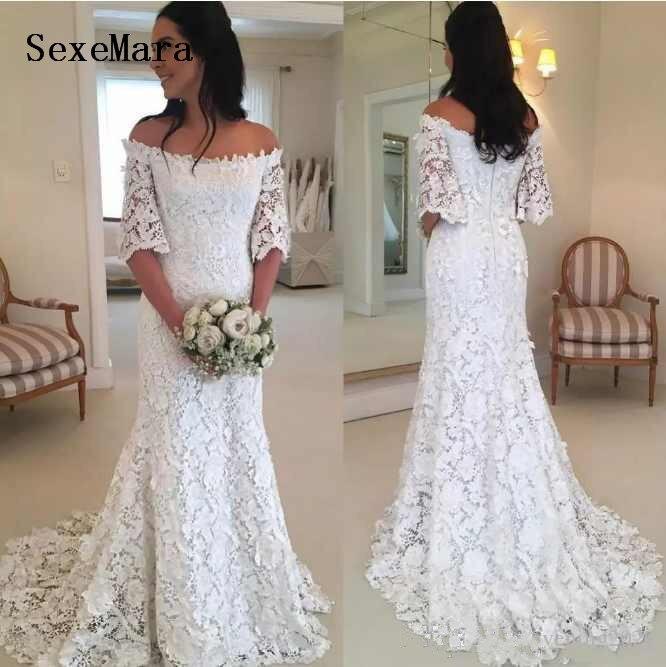 Sirena nuevos vestidos de novia con hombros descubiertos media manga de encaje blanco apliques vestidos de novia con cremallera espalda vestidos de boda por encargo