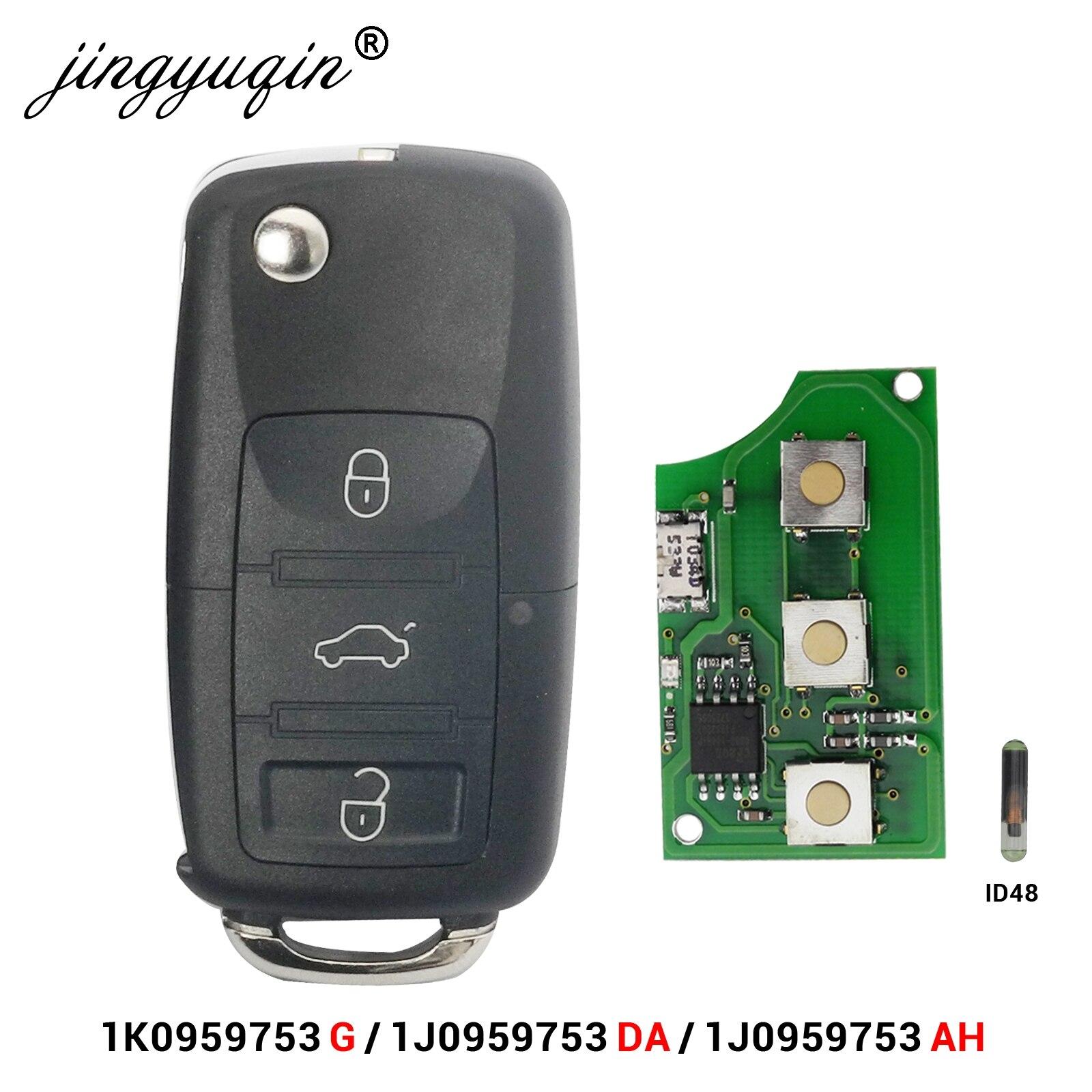 Jingyuqin 3 botão virar remoto carro chave fob para vw passat polo skoda seat polo/golf/besouro 1j0959753 da/ah 1k0959753g 434 mhz id48