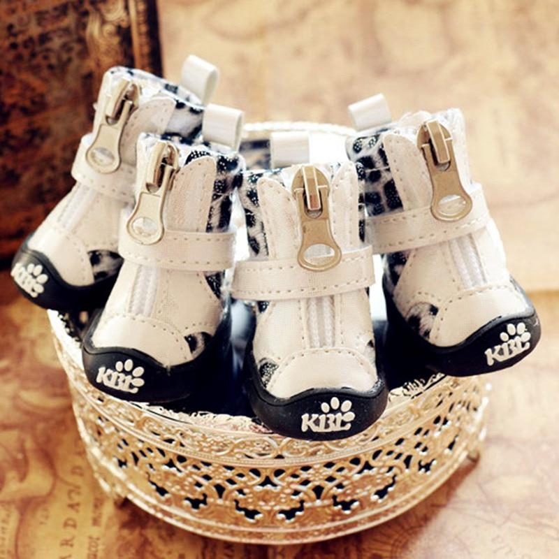 Leopard Print Dog Shoes Waterproof Non-Slip Pet Sports Boots For Small Animalcats Autumn Winter Snow Footwear 4pcs/lot Drop Ship