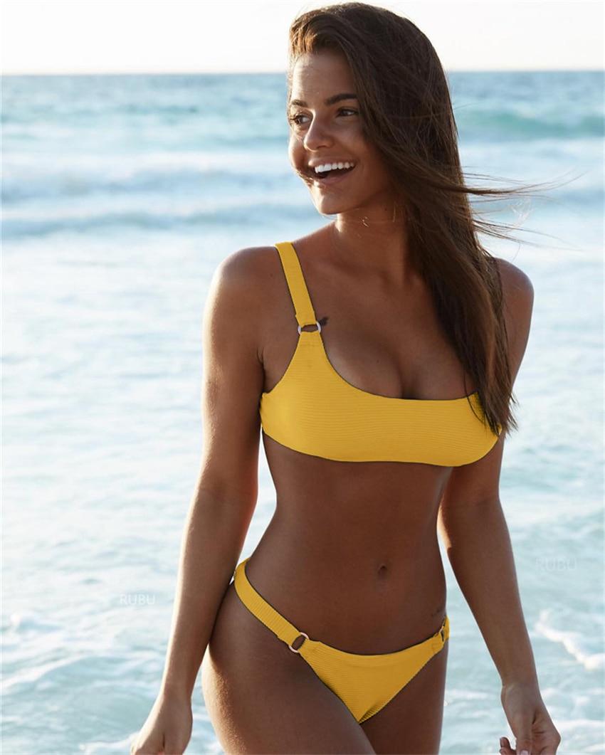 Plain white swimsuit sexy solid bikinis set 2020 female women tank crop top push up bathing suits bandage bikini set brazilian