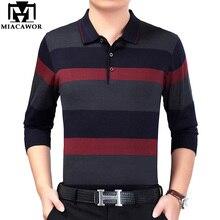 MIACAWOR nouvelle marque Polo hommes printemps à manches longues hommes Polo rayé tricots Camisa Polo Masculino décontracté hommes t-shirt T685