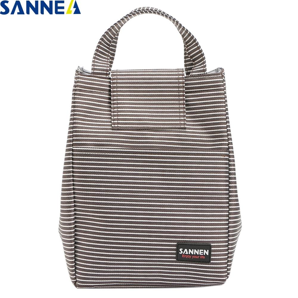 SANNE, 8 л, теплоизоляция, ранцы для еды для женщин, простые Переносные сумки для ланча в полоску для студентов, YQ809