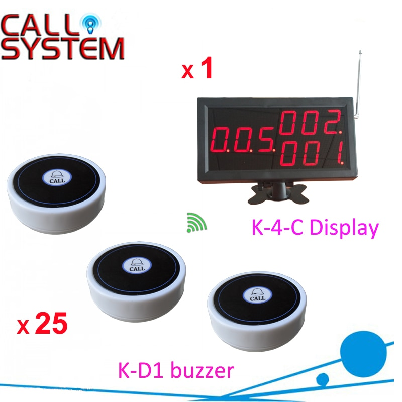 Hospital Wireless Paging Caller System 1 display receiver for nurse/doctor 25 transmitters for patient use