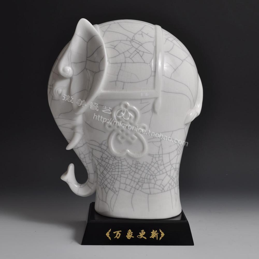 Decoración de porcelana esmaltada, elefante bonito, todo se ve fresco y gay. Regalo de la suerte, decoración para sala de estar