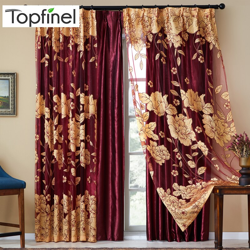 Topo finel luxo moderno bordado sheer cortinas para sala de estar quarto cozinha porta tule tratamentos janela cortinas