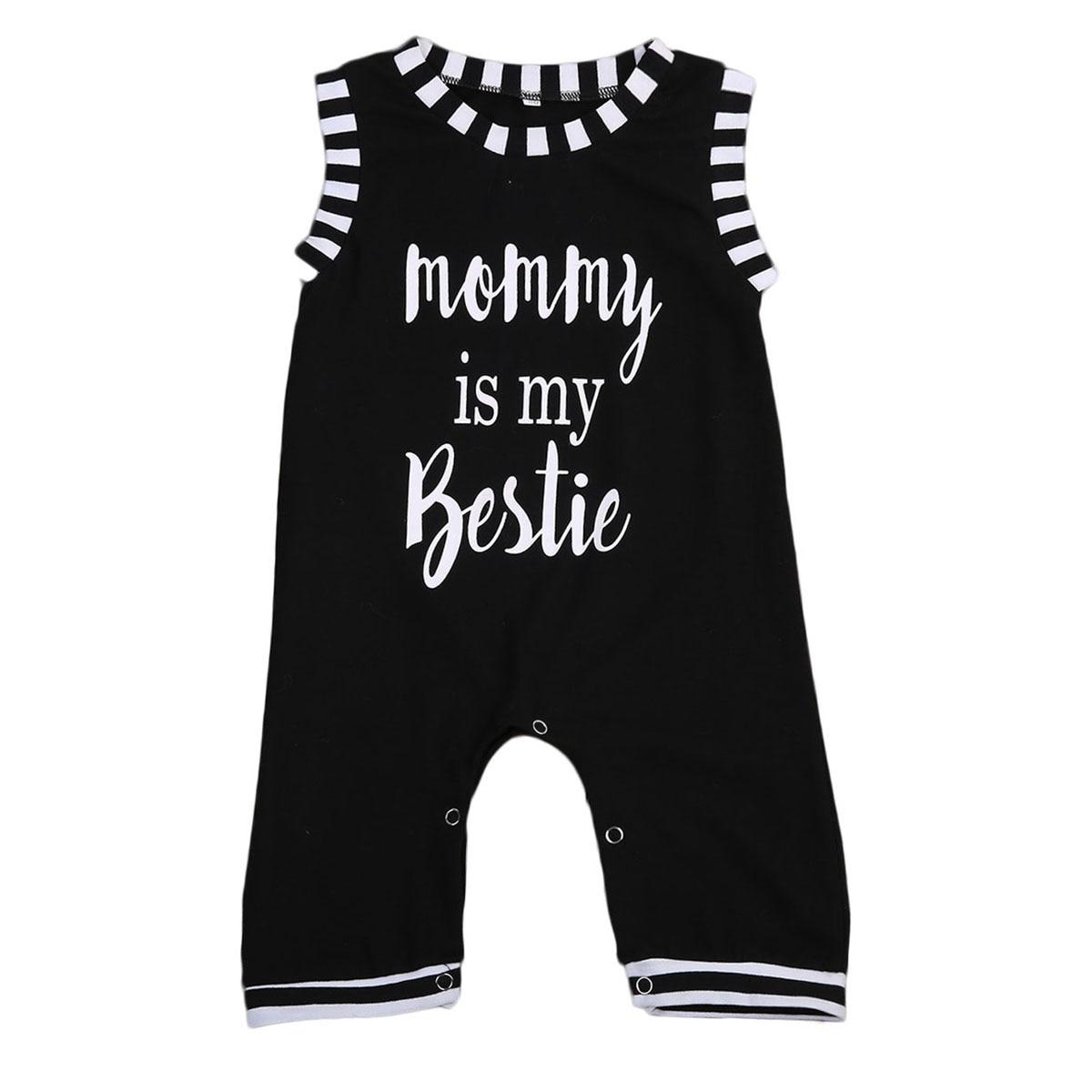 EE. UU. Bebé niños niño niña infantil de verano mamá es mi mejor impresa mameluco a rayas sin mangas StitchingJumpsuit trajes