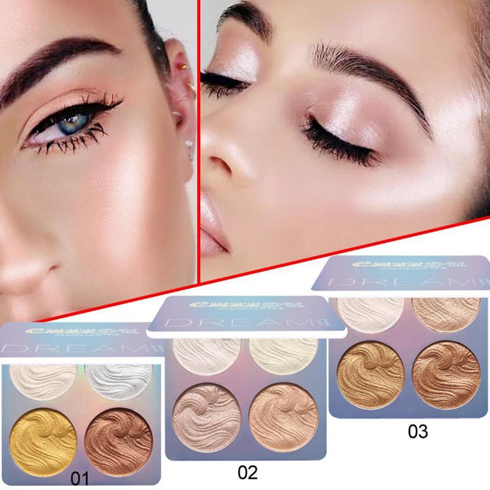 1 piezas Nuevo marcador polvo paleta de 4 colores de alto brillo polvo bronceador reparación Haileyter de maquillaje cosmético