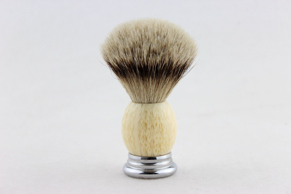 """FS""-21mm brocha de afeitar Silvertip Badger Color crema resina Metal Base mango con láser FS LOGO + soporte independiente"