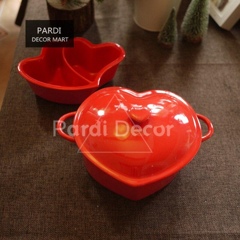 Saint valentin rouge coeur forme pot cuisson bol avec couvercle micro-ondes soupe bol assaisonnement deart plat spécial 1 pc/lot