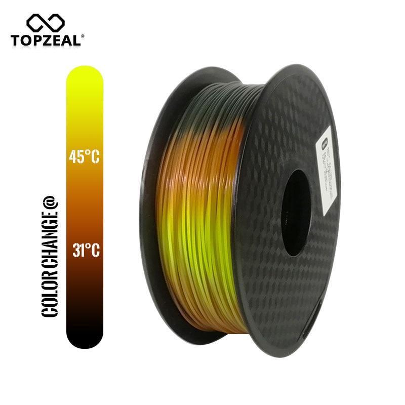 TOPZEAL حديثا PLA ثلاثي درجة الحرارة تغيير لون الحمم ثلاثية الأبعاد خيوط الطابعة ، أسود إلى أحمر إلى أصفر ، 1 كجم 1.75 مللي متر مع التسامح +/-0.05 مللي مت...
