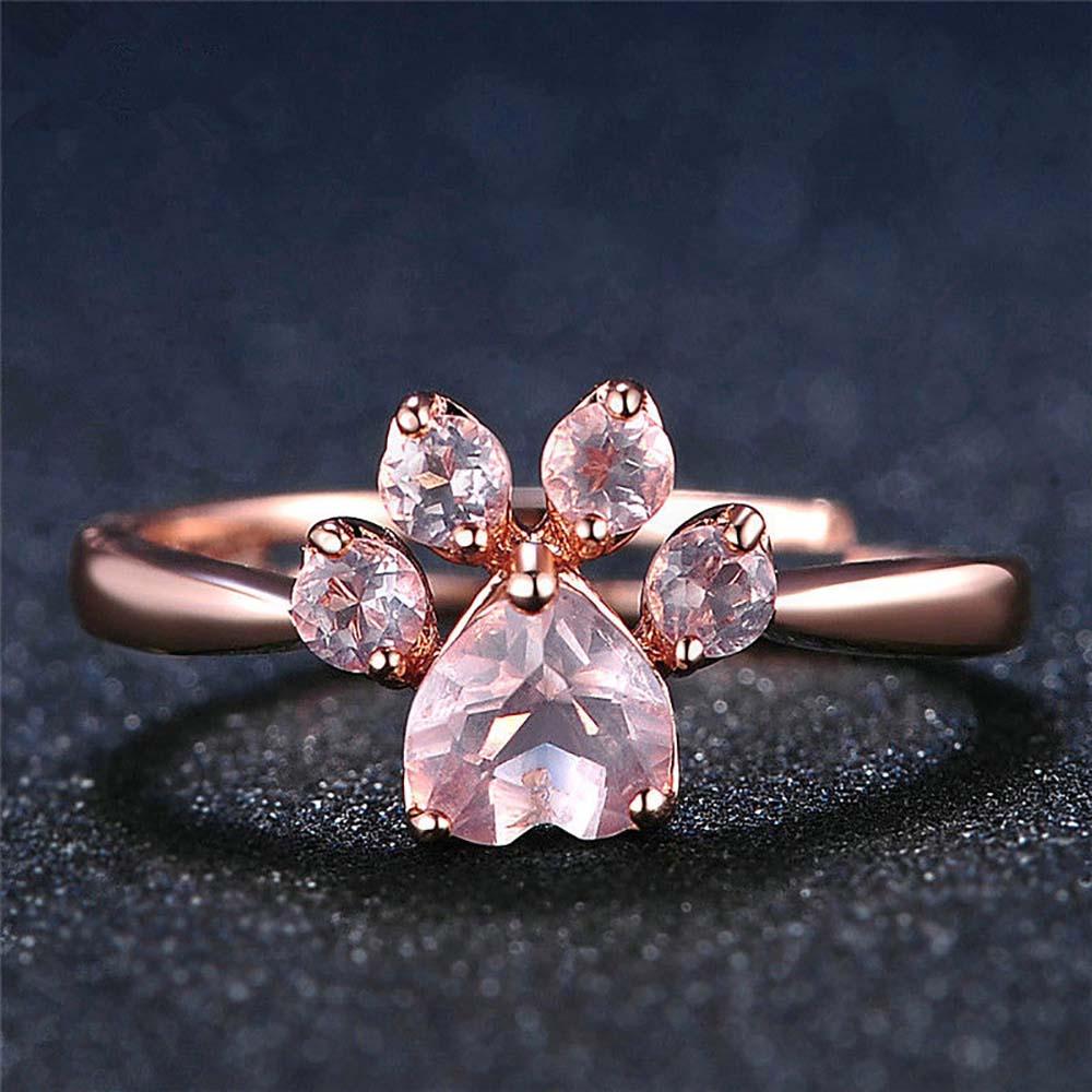 Zarpa de oso gato garra mujeres oro rosa apertura ajustable anillos de circón nuevo