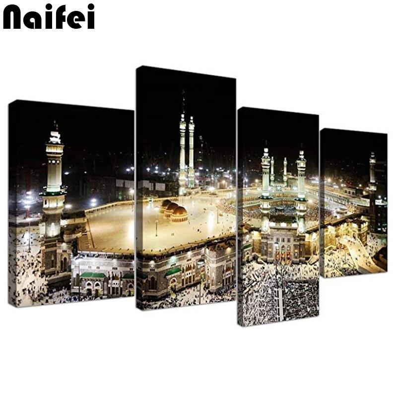 Diy praça cheia diamondislamic parede arte imagens de peregrinação hajj para kabah em meca-xl-moderno mosaico muçulmano presente de natal