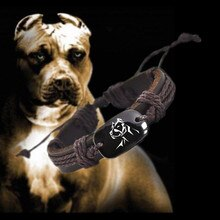 PITBULL Vintage Braided Woven Rope Leather Unisex Bracelet Yak Bone Carved Logo,Fashion Jewelry For Women Man drop shipping