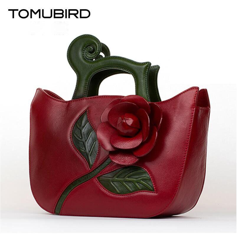 TOMUBIRD new Designer Inspirado couro do couro superior Flor Ladies Tote Satchel Bolsas de Couro Feitos À Mão