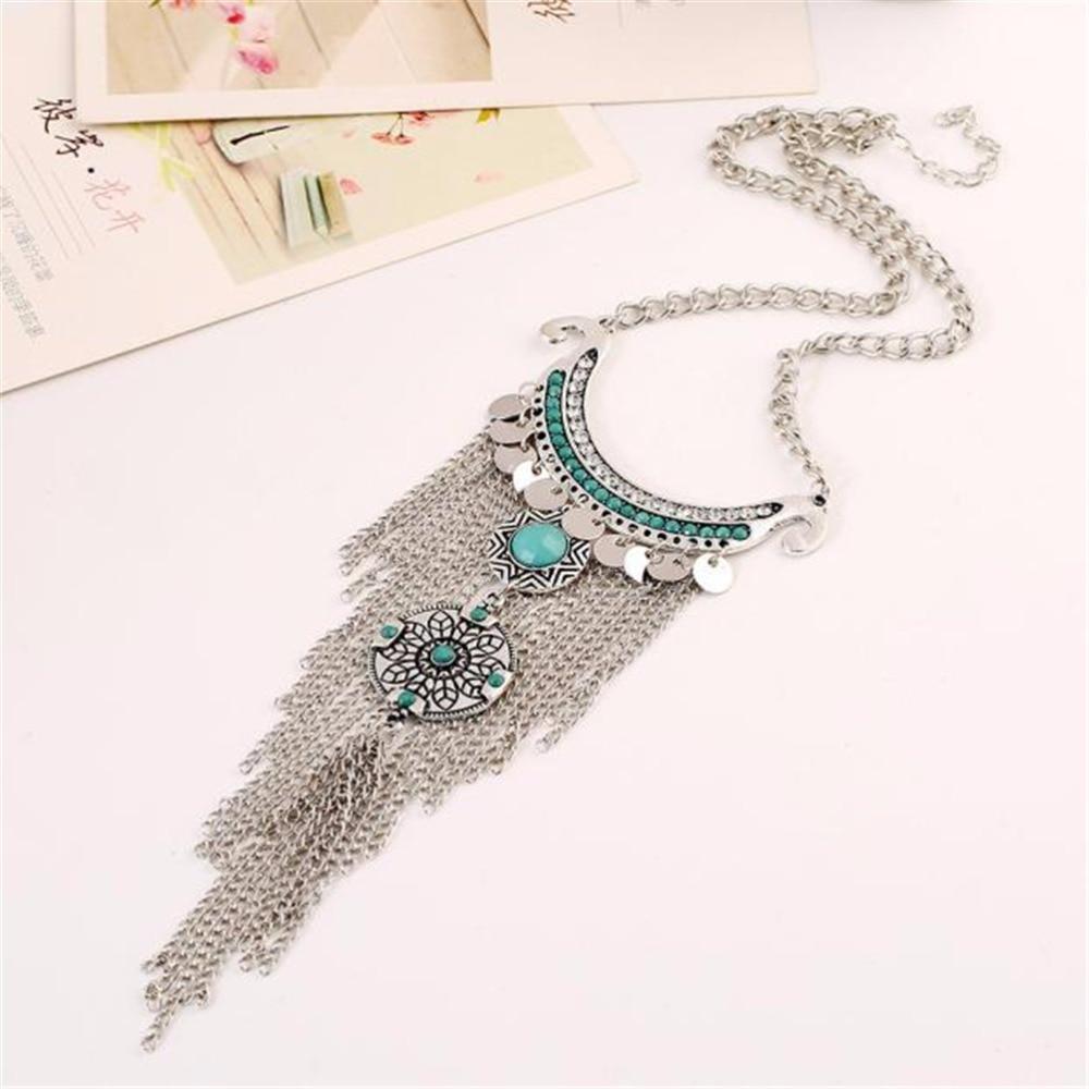 Collar largo con borla de piedra verde plateada, joyería antigua, collar bohemio Vintage moderno, collar llamativo para mujer, gran oferta