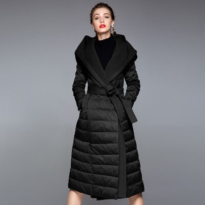 2020 Autumn And Winter Punk Style New Stitching White Duck Down Jacket Female Long Section With Hooded Padded Winter Coat