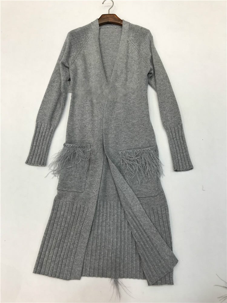 Cardigan Feminino Poncho 2018 Winter New Knitted Velvet Long Feather Tassel Pocket Bead Cardigan Long-sleeved Sweater Female enlarge
