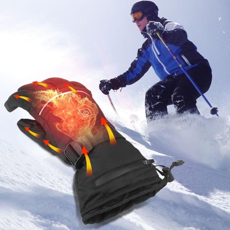 Лыжные перчатки, водонепроницаемые перчатки с функцией сенсорного экрана, теплые зимние перчатки для сноуборда с подогревом