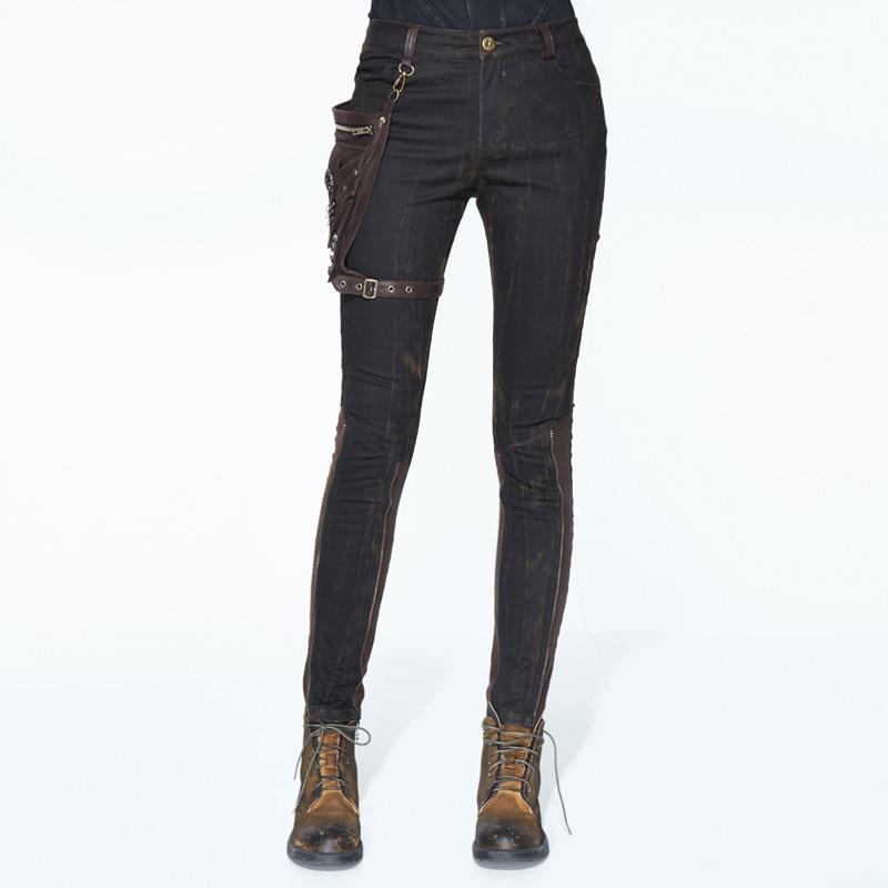 Gothic Black Fashion Pocket Decorative Pants Female Steampunk Casual Cotton Button Tights Black Brown Stitching Pants