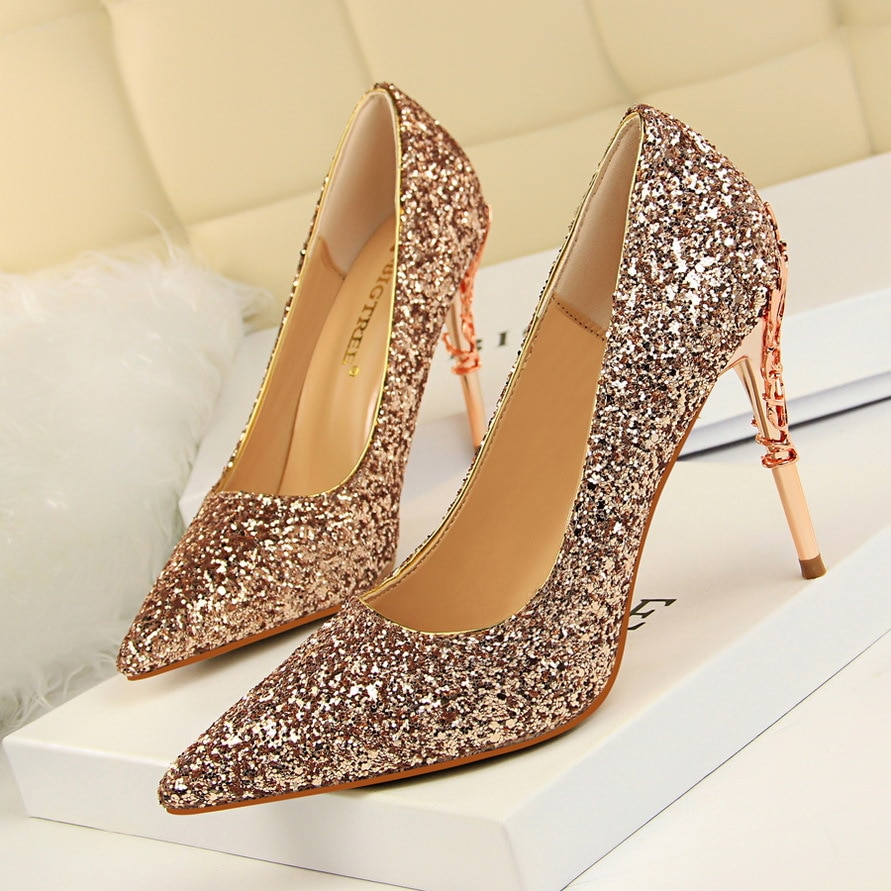 Women Pumps Shoes Sequined Cloth Pointed Toe Slip-On 9.5cm Carved Metal Thin High Heel Sexy Wedding Lady Club Party Female Shoes