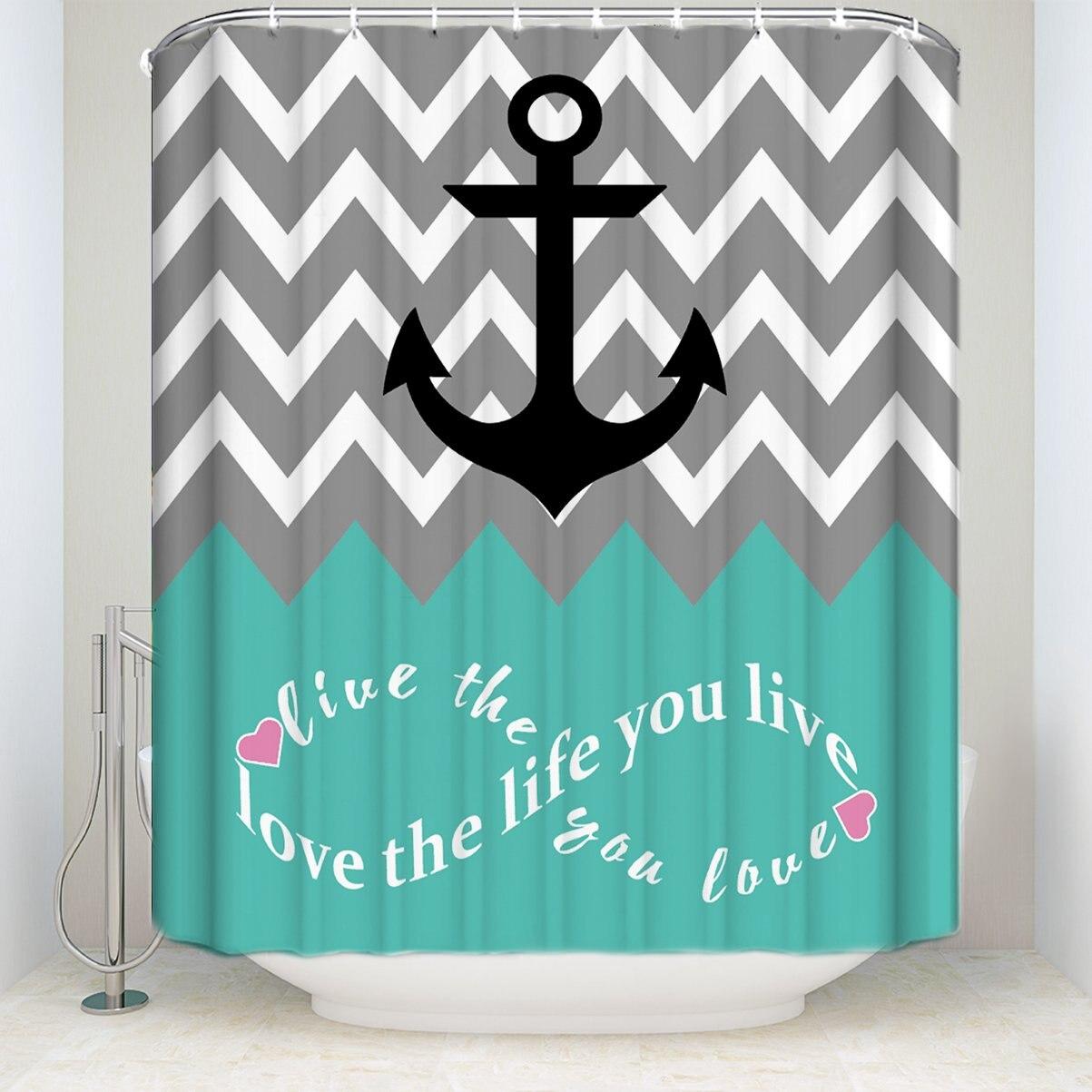 Infinity Love The Life You Live шеврон узор якорь бирюзовый серый белый водонепроницаемый декор для ванной комнаты
