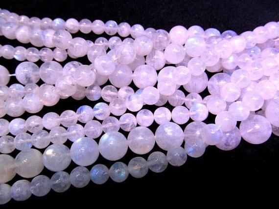 8 10 12 14mm 8inch AAA GRADE Gemstone Round Ball Rainbow Genuine Moonstone Bracelet Jewelry Bead