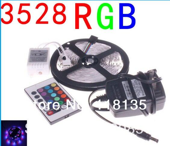 RGB LED Strip Light SMD3528 DC 12V Flexible LED Light 60LED/m 5m Power Adatpter,Remote Controller;Receptor