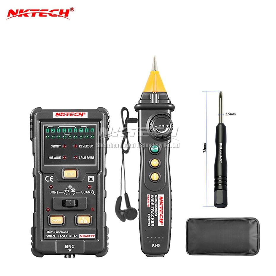 NKTECH-جهاز اختبار تعقب الكابلات ، جهاز اختبار شبكة LAN ، مكتشف الإنترنت ، هاتف RJ45 RJ11 BNC STP UTP ، كاشف الخط ، الاستمرارية ، NKTECH NK6817