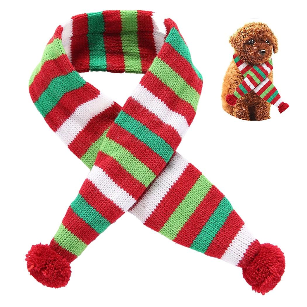 Bufanda navideña de rayas para mascotas, bonita decoración con pompón, bufanda con patrón de rayas para gatos y perros, bufanda de cachorro, accesorios de ropa para mascotas, envío directo