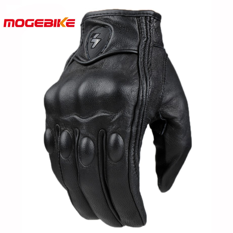 Retro Pursuit Perforated Real Leather Motorcycle Gloves Moto Waterproof Gloves Motorcycle Protective