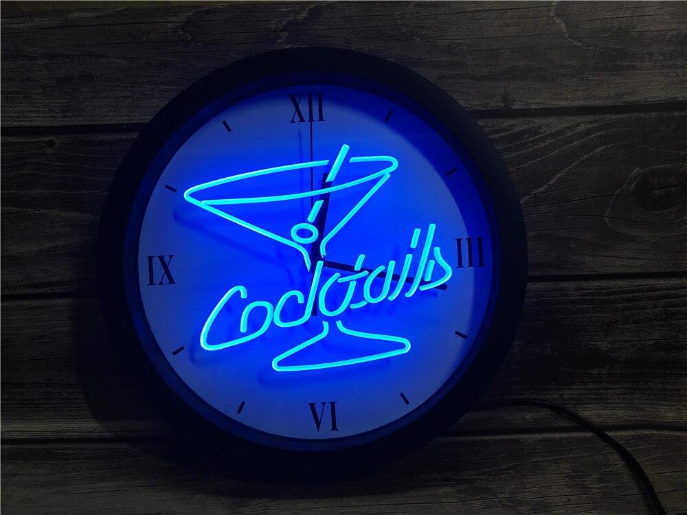 0B522 cócteles Ron vino Lounge Bar Pub APP RGB 5050 luz de neón LED signos Reloj de pared